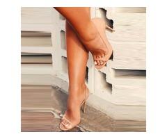 Open Toe Slip-On Heel Sandals
