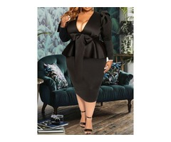 Mid-Calf Long Sleeve V-Neck Pullover Plus Size Womens Dress