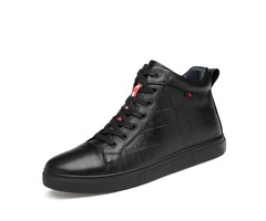 PU Lace-Up Plaid High-Cut Upper Mens Shoes