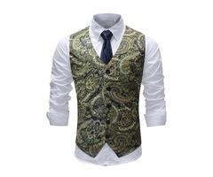 Tidebuy Single-Breasted Floral Print Mens Slim Vest