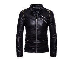 Stand Collar Black Floral Embroidery Mens Leather Jacket