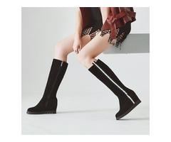 Plain Hidden Elevator Heel Knee High Boots