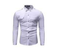 Lapel Button Plain Casual Mens Shirt