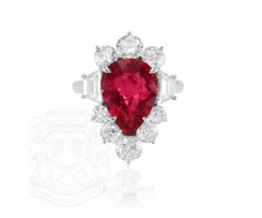 II Really Love This Ring,It's A Platinum,6.12 Carat Natural Pear Shape Ruby