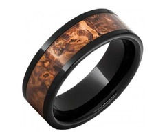 Black Ceramic Pipe Cut Band With A 5mm Distressed Copper Inlay - SKU: CBAND0125