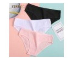 WOMEN'S UNDERPANTS SOFT COTTON PANTIES GIRLS SOLID COLOR BRIEFS STRIPED PANTY SEXY