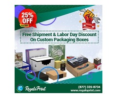 Free Shipment & 25% Labor Day Discount on Custom Packaging | RegaloPrint
