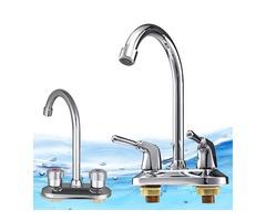 Kitchen Water Tap Dual Handle Faucet 360° Double Spout Sink Basin Mixer Bathroom