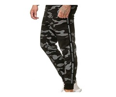 Camouflage Patchwork Mid Waist Mens Casual Pants