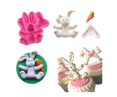 3D RABBIT Easter Bunny Silicone Mould Fondant Cake Baking Molds M116 Cupcake Tools Kitchen Accessori