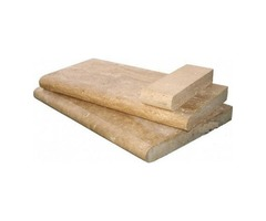 Shop For Tuscany Walnut 4X12 Honed Unfilled Brushed One Short Side Bullnose Pool Coping