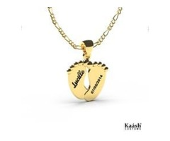 Feet Pendant Name Necklace Gold Plated