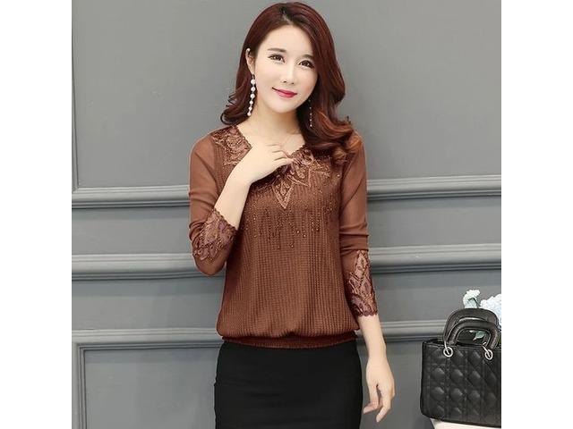 Chiffon 2020 Women Shirt Hollow out Long Sleeve Embroidery Sequin Bead Lace Mesh Blouse Shirt. | free-classifieds-usa.com