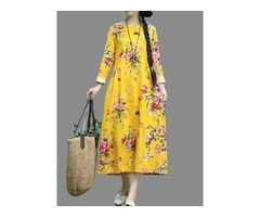 Retro Women Folk Style Floral Print Long Sleeve O-Neck Dress