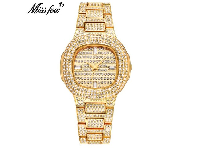 MISSFOX BRAND WATCH QUARTZ LADIES GOLD FASHION WRIST WATCHES DIAMOND STAINLESS STEEL. | free-classifieds-usa.com