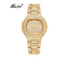 MISSFOX BRAND WATCH QUARTZ LADIES GOLD FASHION WRIST WATCHES DIAMOND STAINLESS STEEL.