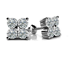 Lab Grown Cluster Stud Diamond Earrings - SKU: gfb0-00036-002