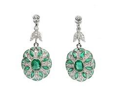14K White Gold Emerald and Diamond Floral Design Dangle Earrings - SKU: 241-10047