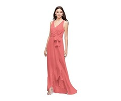 ALICEPUB FAUX WRAP V-NECK CHIFFON BRIDESMAID DRESSES LONG PROM FORMAL DRESS.