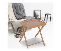 Portable Bamboo Serving Tray Stand