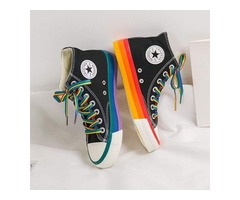 WOMEN'S FASHION 2020 VULCANIZED SHOES WOMAN SNEAKERS NEW RAINBOW RETRO CANVAS SHOES.