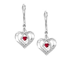 Silver Diamond & Created Ruby Earrings - SKU: MJGO-ROL2165R