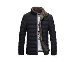 Stand Collar Zipper Plain Warm Mens Winter Jacket