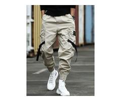 Plain Pocket Loose Mens Casual Pants