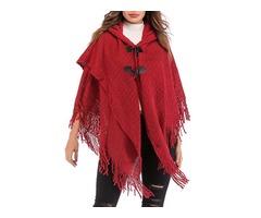 Women Elegant Hooded Fringed Knitted Cloak Cardigans Coats