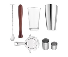 7Pcs 800mL Stainless Steel Cocktail Shaker Mixer Bartender Martini Tools Kit