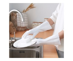 Honana Durable Home Waterproof Anti Skid Washing Cleaning Hand Protective Rubber Gloves