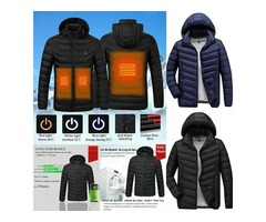 2020 NWE MEN WINTER WARM USB HEATING JACKETS SMART THERMOSTAT PURE COLOR HOODED HEATED.