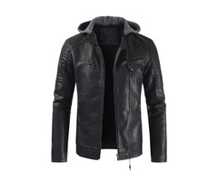 Hooded Zipper Style Mens Leather Jacket