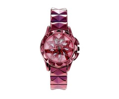 Ultra Violet Stylish Flower Design Stainless Steel Womens Watches