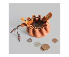 Handmade Top Layer Cow Leather Coin Purse Drawstring Coin Ba