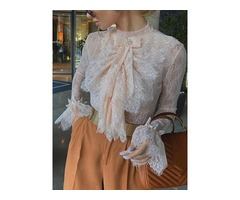 Flare Sleeve Stand Collar Lace Long Sleeve Standard Womens Blouse