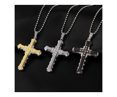 Crystal Cross Pendant, Silver , Gold, Black.