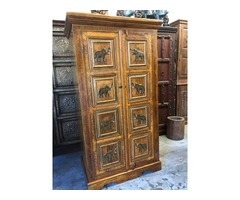Rustic Elephant Armoire, Unique Eclectic Farmhouse Cabinet
