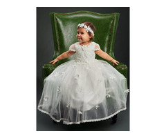 Lace Edge Cap Sleeves Flowers Baby Girls Christening Gown