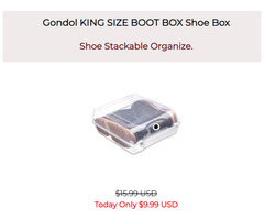 Shoe Stackable Organizer - Gondol KING SIZE BOOT BOX Shoe Box -Storage Container-