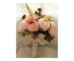 Pink Flowers Lace Wedding Bouquet