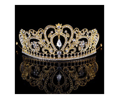 Baroque Alloy Rhinestone Inlaid Wedding Crown