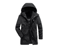Patchwork Color Block Mid-Length Hooded Zipper Style Mens Down Jacket
