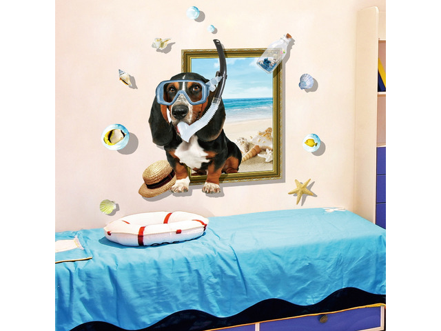 Miico Creative 3D Cartoon Summer Diving Dog Frame PVC Removable Home Room Decorative Wall Floor Deco | free-classifieds-usa.com