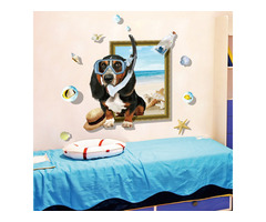 Miico Creative 3D Cartoon Summer Diving Dog Frame PVC Removable Home Room Decorative Wall Floor Deco