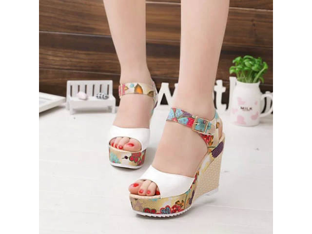 PU Floral Peep Toe Strappy Wedge Heel Womens Sandals   free-classifieds-usa.com