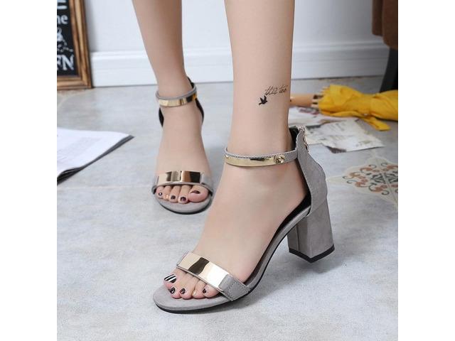 Zipper Heel Covering Chunky Heel Womens Sandals | free-classifieds-usa.com
