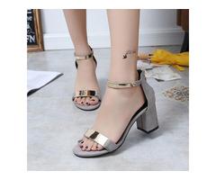 Zipper Heel Covering Chunky Heel Womens Sandals