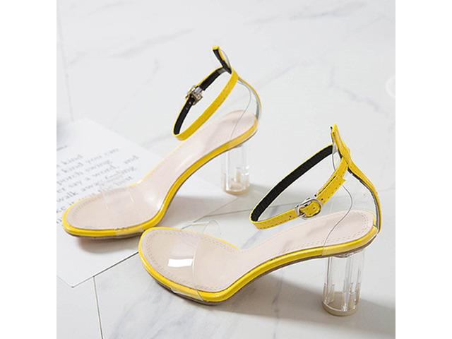 Line-Style Buckle Chunky Heel Heel Covering Buckle Sandals | free-classifieds-usa.com