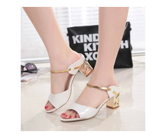 Slip On Thick Heel Flip Flop Womens Summer Shoes